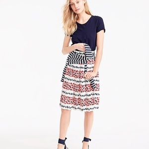 J. Crew Pleated skirt in berry print Sz 8